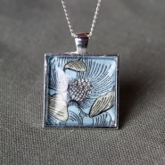 Blue Liberty Floral Square Necklace