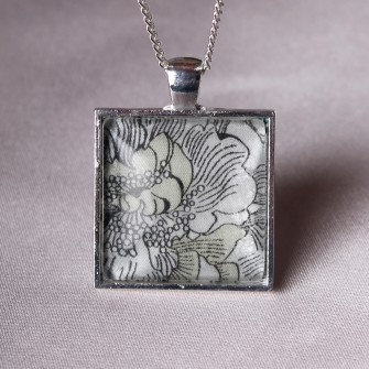 Grey Liberty Floral Square Necklace