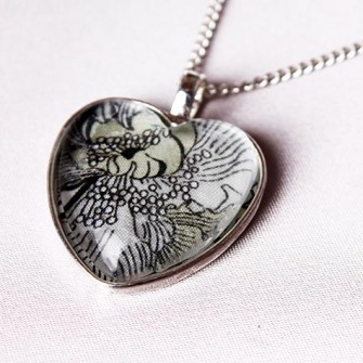 Grey Liberty Floral Heart Necklace