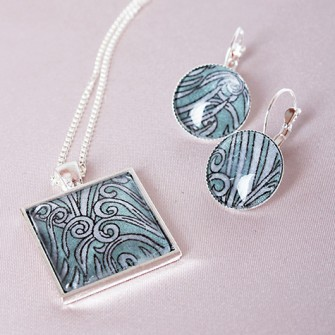 Liberty feather necklace and earring set 2